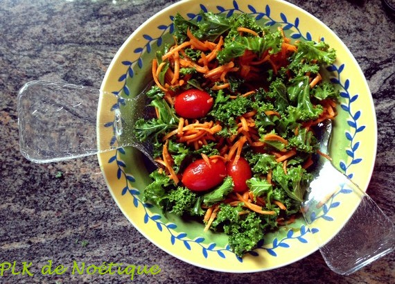 chou kale préparation salade