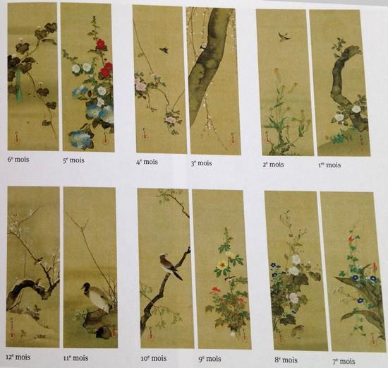kakémono-sakai-Hoitsu-fleurs-et-oiseaux