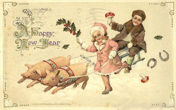 carte-de-voeux-bonne-année-vintage