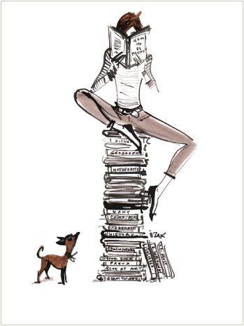 femme-qui-lit-sur-une-pile-de-livres