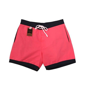 boxer-de-bain-homme-rouge-bords-noirs