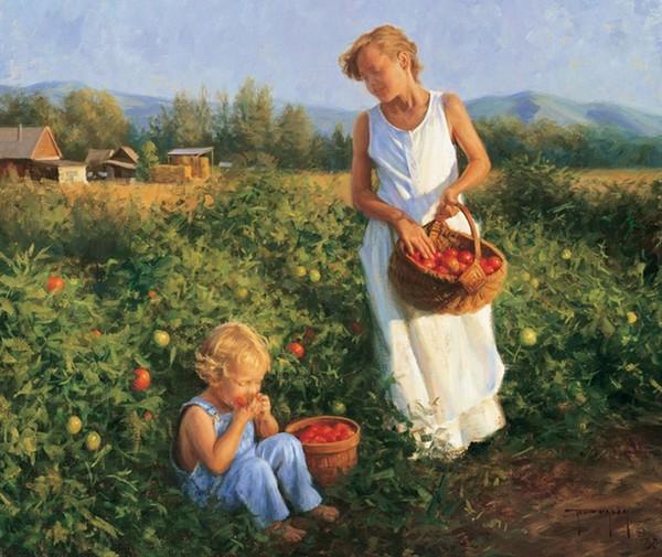 mère-et-son-enfant-robert-Duncan-jardin-tomates