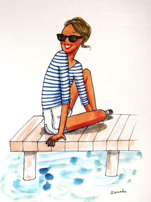 fille-assise-sur-une-avancée-mer- Kanako