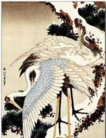 deux-grues-sur-un-pin-enneigé-hokusai