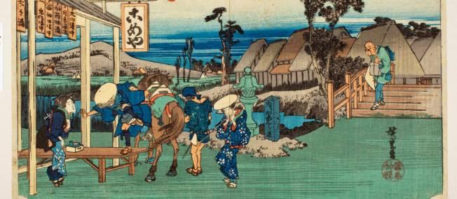 """Voyageur-descendant-de-son-cheval-près-d-un-restaurant-sur-la-route-de-Kamakura"""""""