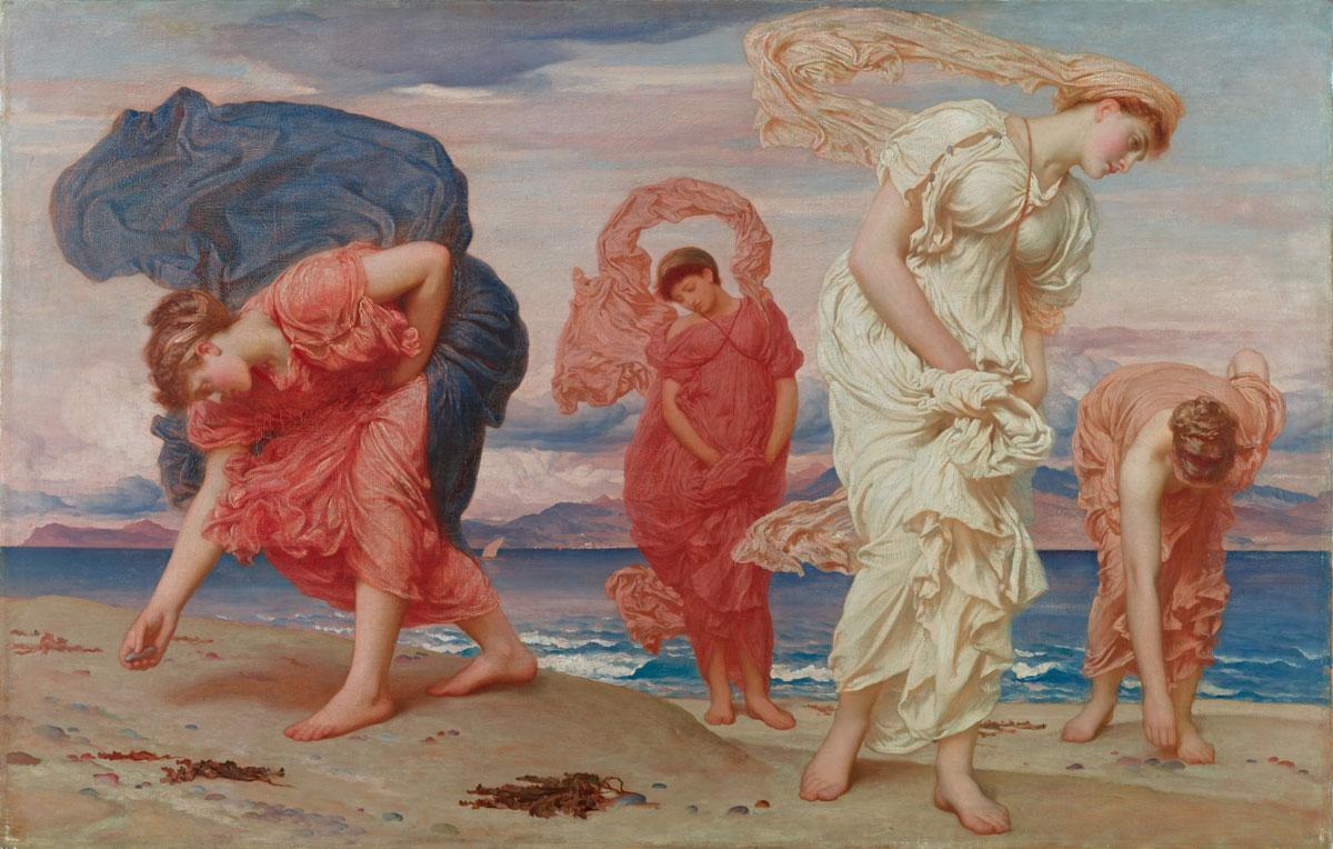 Frederic Leighton et ses Jeunes Filles grecques ramassant des galets sur la plage,