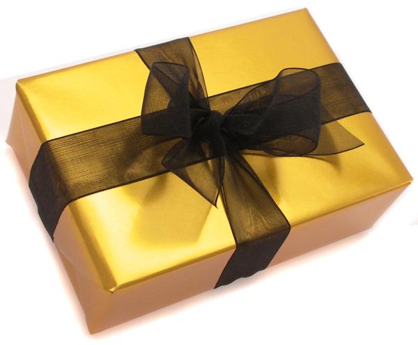 paquet-cadeau-doré-avec-nœud-noir