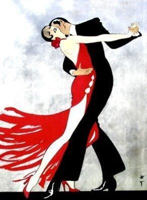 René-Gruau-couple-qui-danse-femme-robe-rouge