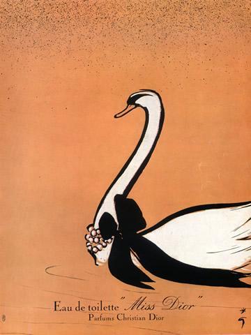 Gruau -rené-dessin-pour-miss-Dior-cygne