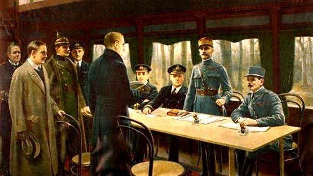 11-novembre -918-signature-armistice-dans- wagon-salon-du-maréchal-Foch-à-Rethondes-dans-la-forêt-de-Compiègne.