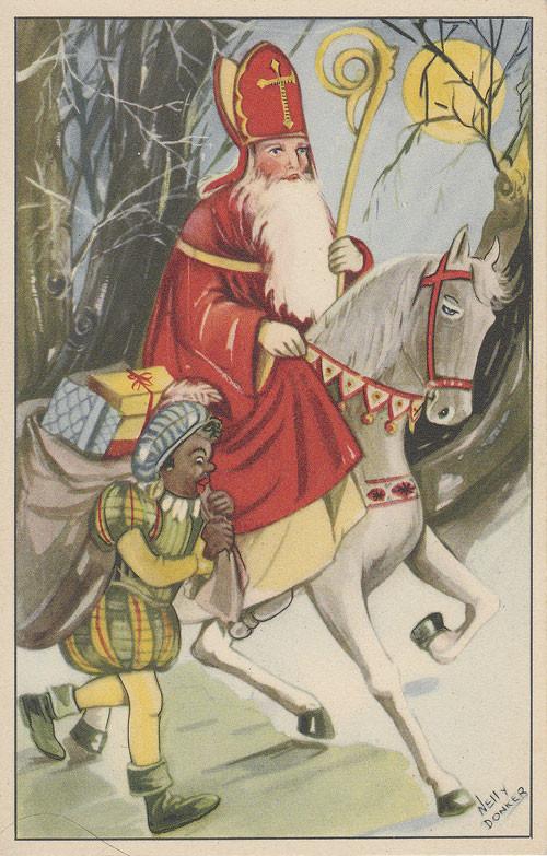 st-Nicolas-sur-un-cheval-et le-père-fouettard