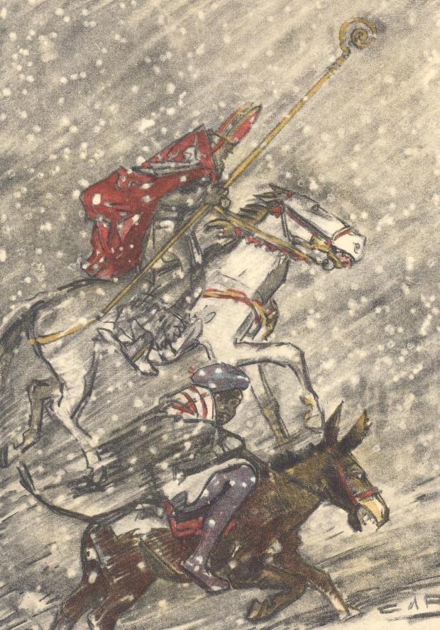 st-Nicolas-sur-un-cheval-dans-la-neige-avec-le-père-fouettard