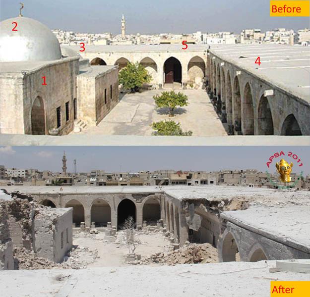avant-après-les-bombardements-musée Ma'arrat al-Numan-en-Syrie