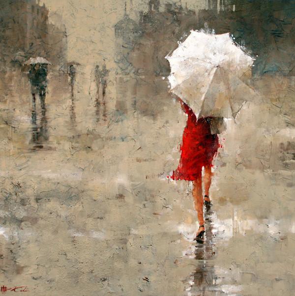 femme-en-robe-rouge-sous-la-pluie-andré-Kohn