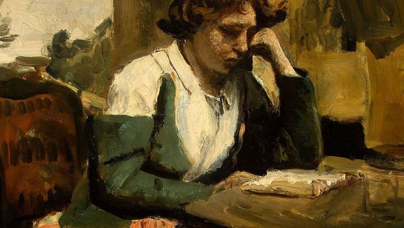 jeune femme lisant corot