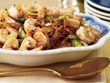 Poêlée de Crevettes -au -poivre -de- Sichuan- avec -nouilles- chinoises