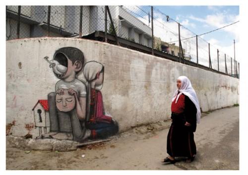 Fresque très touchante à Bethléem en Palestine