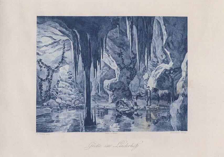 Heinrich-Christoph-Gottlieb-Breling-Peinture-Louis-II-à-Linderhof-dans-sa-grotte-de-Vénus