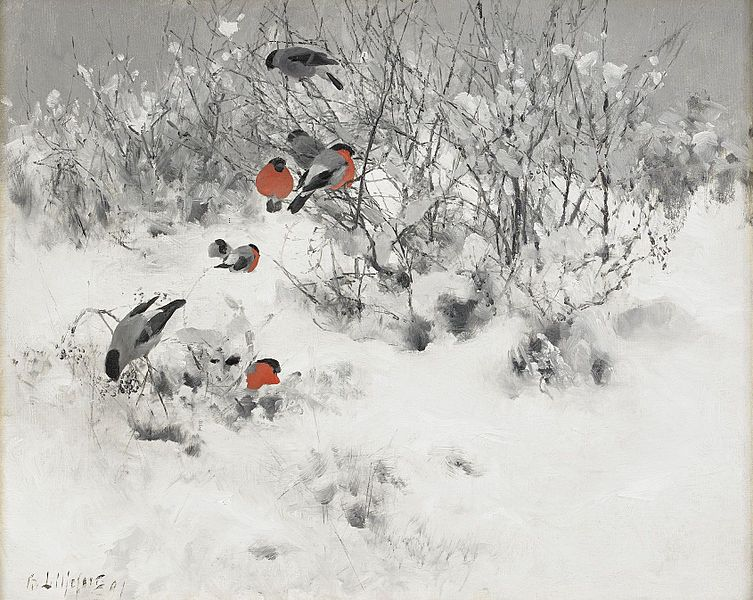 winter-landscape-bullfinches-liljefors